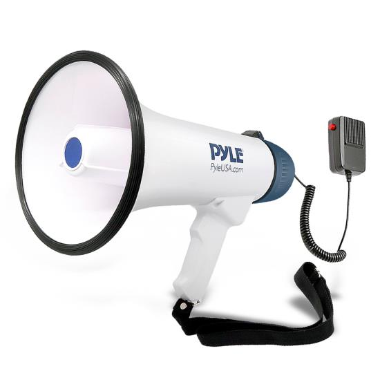 Pyle - PMP45R , Home and Office , Megaphones - Bullhorns , Sound and Recording , Megaphones - Bullhorns , Bullhorn Megaphone Speaker with Built-in Rechargeable Battery, 10 Second Memory Record, Detachable Handheld Microphone, Siren Alarm Mode