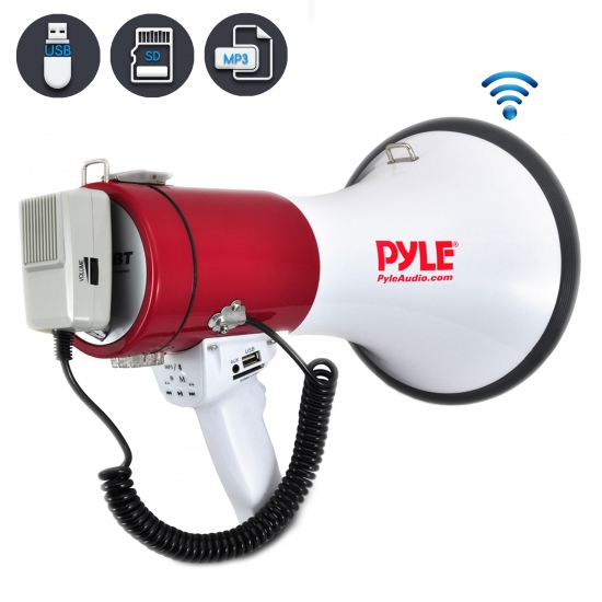 Pyle - PMP52BT , Home and Office , Megaphones - Bullhorns , Sound and Recording , Megaphones - Bullhorns , Bluetooth Megaphone Bullhorn with AUX (3.5mm) Input Built-in USB Flash & SD Memory Card Readers and Siren