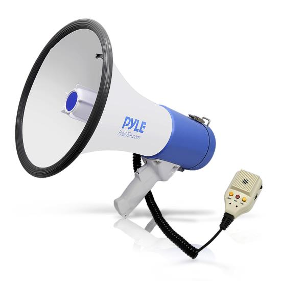 Pyle - PMP59IR , Home and Office , Megaphones - Bullhorns , Sound and Recording , Megaphones - Bullhorns , Megaphone Bullhorn, 50 Watt, Built-in Rechargeable Battery, Piezo Dynamic, Aux (3.5mm) Aux Input Connector, Record, Siren and Talk Modes