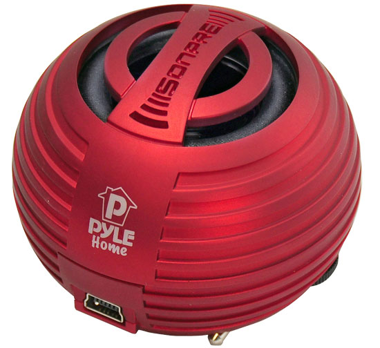 Pyle - PMS8R , Home and Office , Portable Speakers - Boom Boxes , Bass Expanding Chainable Rechargeable Mini Speakers For IPod/IPhone/MP3/Computer (Red)