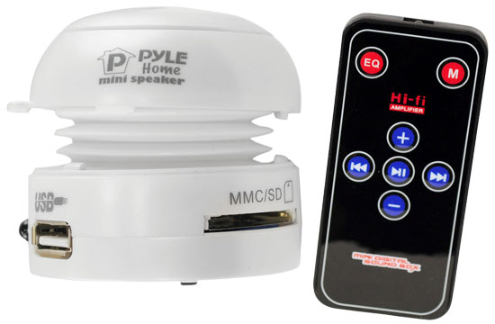 Pyle - PMSU1W , Marine and Waterproof , Portable Speakers - Boom Boxes , Gadgets and Handheld , Portable Speakers - Boom Boxes ,  Bass Expanding Mini Speaker With Built-In USB & SD Card Reader (White)