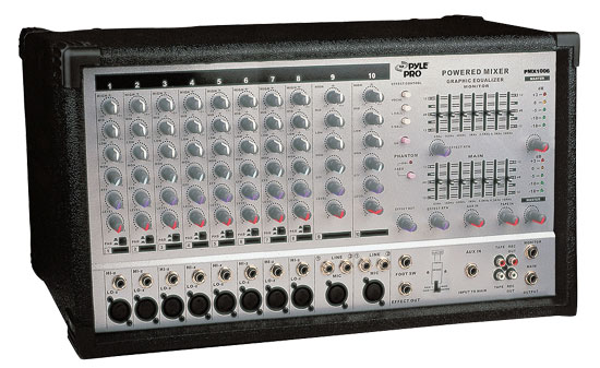 Pyle - PMX1006 , Sound and Recording , Mixers - DJ Controllers , 10 Channel 800 Watts Powered Stereo Mixer