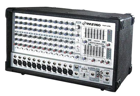 Pyle - PMX1206 , Sound and Recording , Mixers and DJ Controllers , 12 Channel 1000 Watts Powered Mixer