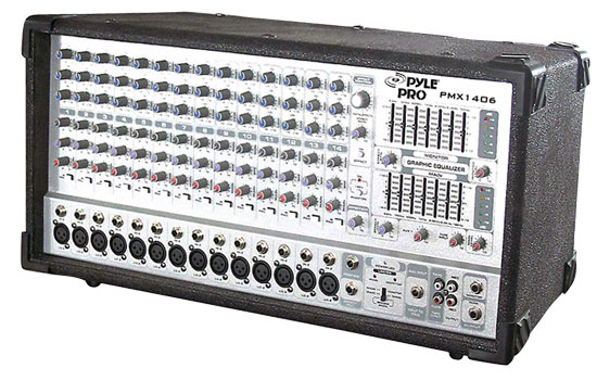 Pyle - PMX1406 , DJ Equipment , DJ Mixers , 14 Channel 1200 Watts Digital Powered Mixer W/DSP