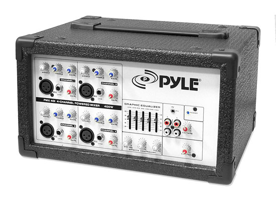 Pyle - PMX401 , Sound and Recording , Mixers - DJ Controllers , 4-Channel Powered PA Mixer / Amplifier, 150 Watt, Aux (3.5mm) and RCA Input Connector Jacks, Graphic EQ