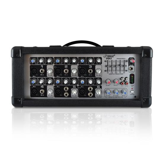 Pyle - PMX601 , Sound and Recording , Mixers - DJ Controllers , 6-Channel Powered PA Mixer / Amplifier, 150 Watt, Aux (3.5mm) and RCA Input Connector Jacks, Graphic EQ