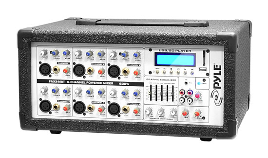 Pyle - PMX640BT , Sound and Recording , Mixers - DJ Controllers , 6-Channel 600 Watt Bluetooth Mixer with Balanced Mic & Line Inputs, USB & SD Card Readers