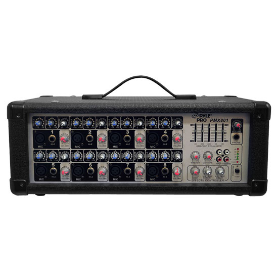 Pyle - PMX801 , Sound and Recording , Mixers - DJ Controllers , 8-Channel Powered PA Mixer / Amplifier, 200 Watt, Aux (3.5mm) and RCA Input Connector Jacks, Graphic EQ