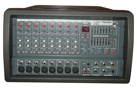 Pyle - PMX804 , DJ Equipment , DJ Mixers , 8-Channel 400 Watt Powered PA Mixer/Amplifier