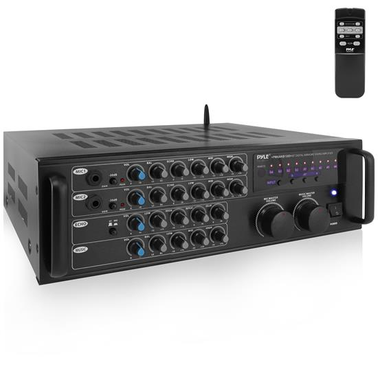 Pyle - PMXAKB1000 , Sound and Recording , Mixers - DJ Controllers , 1000 Watt Bluetooth Stereo Mixer Karaoke Amplifier, Microphone/RCA Audio/Video Inputs, Mic-Talkover, Rack Mountable Amp