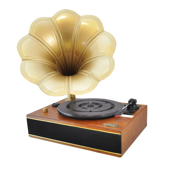 Pyle - PNGTT1R , DJ Equipment , Turntables , Classic Horn Phonograph/Turntable With USB-To-PC Connection And Aux-In (Mahogany)