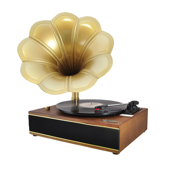 Pyle - PNGTT1T , DJ Equipment , Turntables , Classic Horn Phonograph/Turntable With USB-To-PC Connection And Aux-In (Maple)