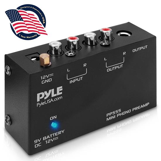 Pyle - PP555 , Musical Instruments , Instrument Accessories , Ultra Compact Phono Turntable Pre-Amplifier w/ 9 V Battery Compartment