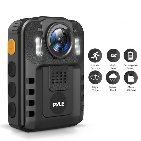 Pyle - PPBCM6 , Home and Office , Cameras - Videocameras , Gadgets and Handheld , Cameras - Videocameras , Police Body Camera - Personal HD Wireless Body Worn Camera with Audio/Video Recording, Night Vision, Waterproof, Removable 16GB Memory (1296p)