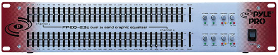 Pyle - PPEQ231 , Sound and Recording , Sound Reinforcement , Dual Channel 31 Band 1/3 Octave Graphic Equalizer