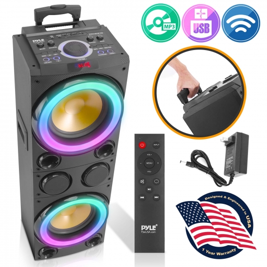 Pyle - PPHD210 , Sound and Recording , PA Loudspeakers - Cabinet Speakers , 10'' Portable Bluetooth PA Karaoke  Speaker System - Karaoke Speaker with LED Lights, USB/Micro SD/FM/BT/Aux/Remote Control/Mic & Guitar Inputs, Built-in Rechargeable Battery, w/ Wheels & Handle Bar (1200 Watt)