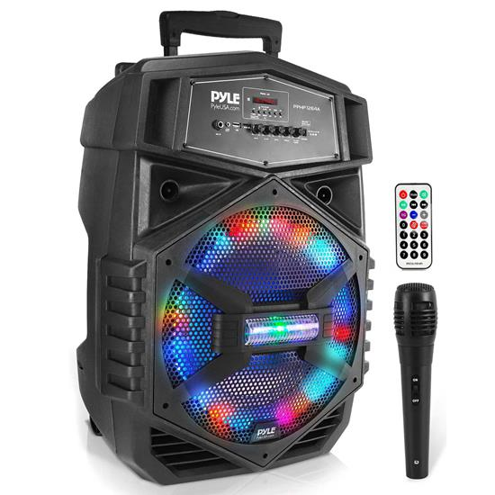 Pyle - PPHP1264A , Sound and Recording , PA Loudspeakers - Cabinet Speakers , 12'' Portable Bluetooth PA Speaker System - Karaoke Speaker with LED Lights, USB/Micro SD/FM/BT/Aux/Remote Control/Mic Inputs, Built-in Rechargeable Battery, w/ Wheels & Handle Bar (1000 Watt)