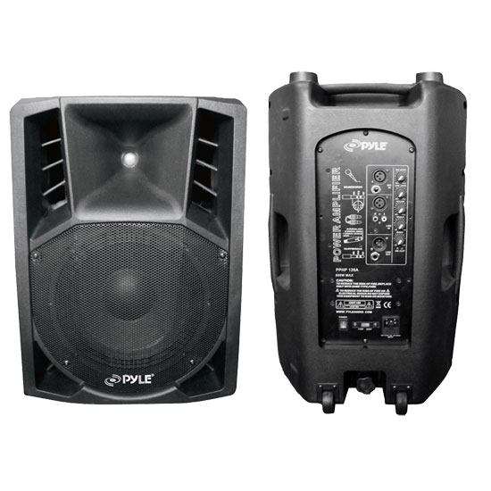 Pyle - PPHP126A , DJ Equipment , DJ Speakers , 1000 Watts 12'' Powered 2 Way Plastic Molded PA Speaker With Wheels For easy Transport