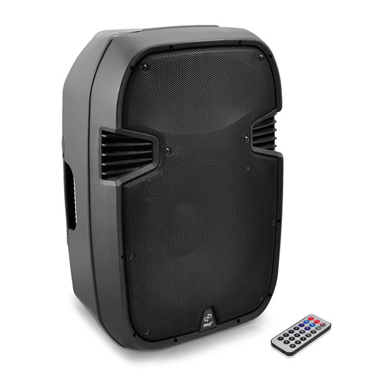 Pyle - PPHP127AI , Sound and Recording , PA Loudspeakers - Cabinet Speakers , 12'' 1200 Watt Powered 2-Way Full Range PA Loudspeaker System with Built-in 30-Pin iPod Dock, USB Flash & SD Memory Card Readers, LCD Display, Mic Input, Remote Control