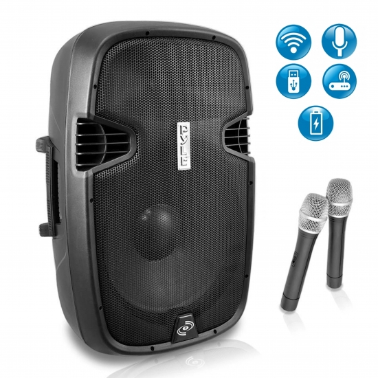 Pyle - PPHP129WMU , DJ Equipment , Wireless PA Systems , 12'' 1000 Watt Bluetooth Music Streaming Portable Loudspeaker System - Built-in Rechargeable Battery, 2 Wireless Mics, FM Radio, LCD Readout, USB & SD Card Readers