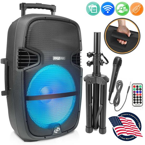 Pyle - PPHP1548B , Sound and Recording , PA Loudspeakers - Cabinet Speakers , 15'' Portable Wireless BT Speaker System - USB/Micro SD Card Reader/FM/Aux/Mic Inputs, With LED Light, Wheel, Handle, Tripod & Remote Control