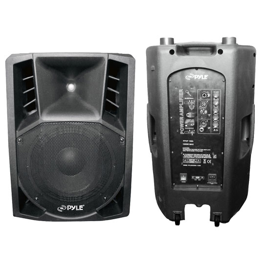 Pyle - PPHP156A , DJ Equipment , DJ Speakers , 1200 Watts 15'' Powered 2 Way Plastic Molded PA Speaker With Wheels For Easy Transport