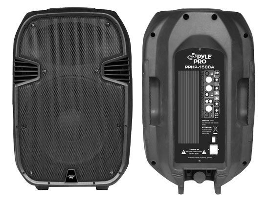 Pyle - PPHP1588A ,  , 1000 Watts 15'' Two-Way Active/Powered Plastic Molded Speaker System