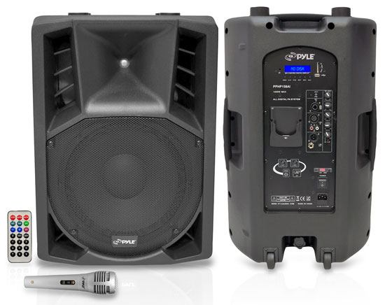 Pyle - PPHP158AI , Sound and Recording , PA Loudspeakers - Cabinet Speakers , 15'' 1400 Watt Portable Powered 2 Way Full Range PA Speaker w/Built-in iPod Dock USB SD and Remote control/ Microphone Included