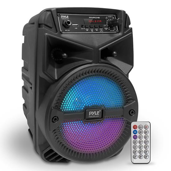 Pyle - PPHP634B , Sound and Recording , PA Loudspeakers - Cabinet Speakers , 6.5'' Bluetooth Portable PA Speaker - Portable PA & Karaoke Party Audio Speaker with Built-in Rechargeable Battery, Flashing Party Lights, MP3/USB/ /FM Radio (240 Watt MAX)