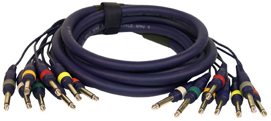 Pyle - PPSN814 , Sound and Recording , Cables - Wiring - Adapters , 10 Ft. 8 Channel Unbalanced 1/4'' Male to 1/4'' Male Snake Cable
