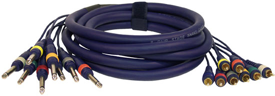 Pyle - PPSN826 , Sound and Recording , Cables - Wiring - Adapters , 20 Ft. 8 Channel RCA Male to 1/4'' Male Unbalanced Snake Cable