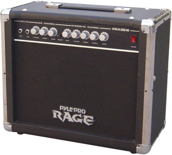 Pyle - PRAGE45 , Sound and Recording , Amplifiers - Receivers , 45 Watt Rage-Series Electric Guitar Amplifier With Overdrive