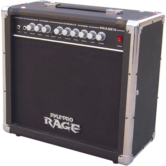 Pyle - PRAGE75 , Sound and Recording , Amplifiers - Receivers , 75 Watt Rage-Series Electric Guitar Amplifier With Overdrive