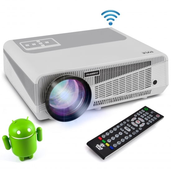 Pyle - PRJAND615 , Home and Office , Projectors , HD Hi-Res Smart Projector with Built-in Dual Core Android CPU, High Speed Wi-Fi Wireless Internet, 1080p & Blu Ray Disc Support, Projection Size up to 120'' inches