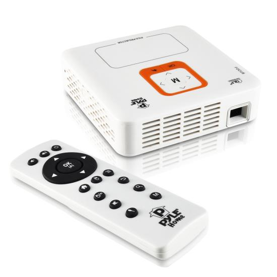 Pyle - PRJAND820 , Home and Office , Projectors , Smart Mini Portable Projector, Built-in Dual Core Android Computer, 1080p Support, Bluetooth, Wi-Fi, Rechargeable Battery, Touchpad, USB/SD Readers, Air-Mouse, Projects up to 120''