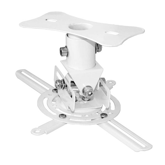Pyle - PRJCM6 , Musical Instruments , Mounts - Stands - Holders , Sound and Recording , Mounts - Stands - Holders , Universal Projector Ceiling Mount Bracket with Rotation & Tilt Adjustments Assembled & Quick Release Mechanism (White)