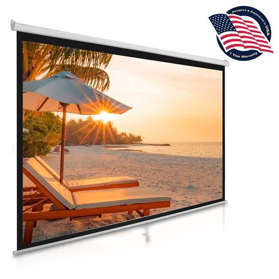 Pyle - PRJSM1006 , Home and Office , Projector Screens - Accessories , Universal 100-Inch Roll-Down Pull-Down Manual Projection Screen (59.8'' x 79.9'') Matte White