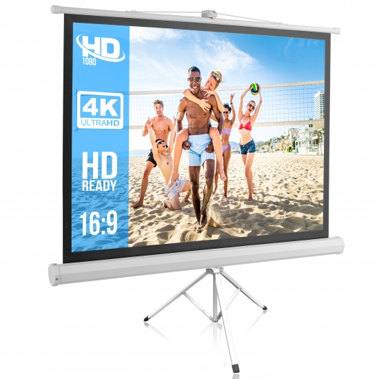 Pyle - PRJTP52 , Home and Office , Projector Screens - Accessories , 50-inch Video Projector Screen, Easy Fold-Out & Roll-Up Projection Display, Tripod Stand Style