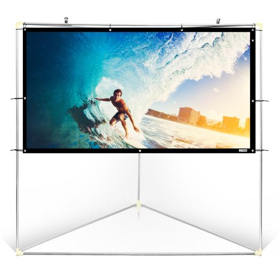 Pyle - PRJTPOTS71 , Home and Office , Projector Screens - Accessories , Outdoor Projector Screen - Portable Viewing Projector Display with Frame Stand, HD 16:9 Pickup Display (72'' -inch)