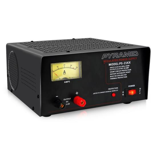 Pyle - PS21KX , Home and Office , Power Supply - Power Converters , Bench Power Supply, AC-to-DC Power Converter with Amperage Gauge Display (18 Amp)