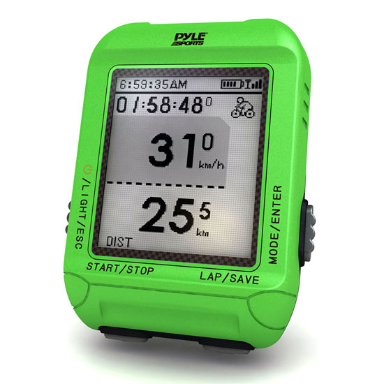 Pyle - PSBCG90GN , Sports and Outdoors , Fitness and Training Sensors , Gadgets and Handheld , Fitness and Training Sensors , Smart Bicycling Computer with GPS Performance & Navigation Analysis Software and ANT+ Technology for Biking, Training, Exercise, Fitness (Green Color)