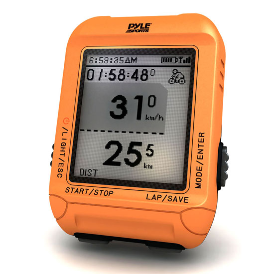 Pyle - PSBCG90OR , Sports and Outdoors , Fitness and Training Sensors , Gadgets and Handheld , Fitness and Training Sensors , Smart Bicycling Computer with GPS Performance & Navigation Analysis Software and ANT+ Technology for Biking, Training, Exercise, Fitness (Orange Color)