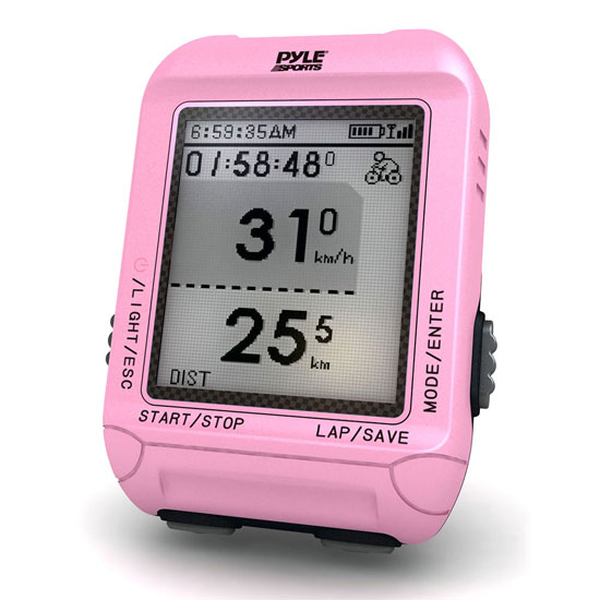 Pyle - PSBCG90PN , Sports and Outdoors , Fitness and Training Sensors , Gadgets and Handheld , Fitness and Training Sensors , Smart Bicycling Computer with GPS Performance & Navigation Analysis Software and ANT+ Technology for Biking, Training, Exercise, Fitness (Pink Color)
