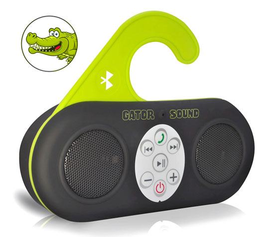 Pyle - PSBT25BK , Sports and Outdoors , Portable Speakers - Boom Boxes , Gator Sound Waterproof Bluetooth Shower Speaker and SpeakerPhone with Built-in Microphone for Call Answering (Black Color)
