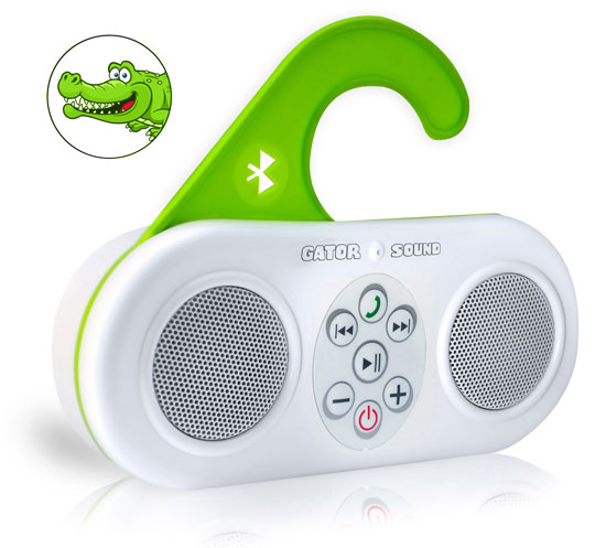 Pyle - PSBT25WT , Sound and Recording , Personal Radios - Alarm Clocks , Gator Sound Waterproof Bluetooth Shower Speaker and SpeakerPhone with Built-in Microphone for Call Answering (White Color)