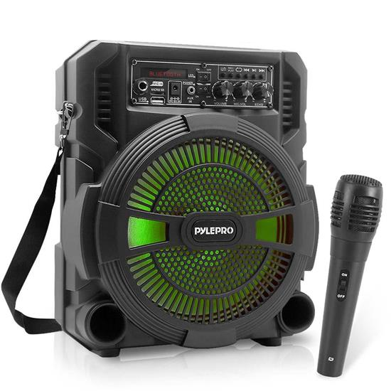 Pyle - PSBT62A , Sound and Recording , PA Loudspeakers - Cabinet Speakers , 8'' Bluetooth Portable PA Speaker & Microphone System - High-Powered PA Loudspeaker with Built-in Rechargeable Battery, MP3/Micro SD Card Reader/USB/FM Radio & LED Lights (600 Watt MAX)