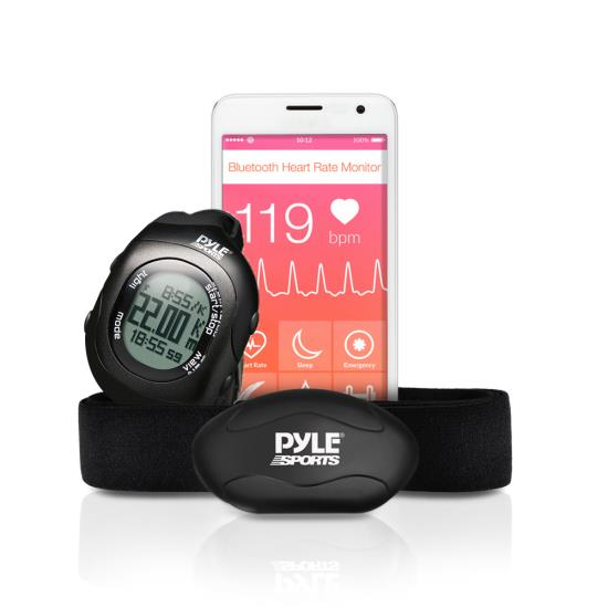 Pyle - PSBTHR70BK , Sports and Outdoors , Watches , Gadgets and Handheld , Watches , Bluetooth Wireless Heart Rate Monitor Chest Strap with Digital Wrist Watch, Measures Speed, Distance, Countdown and Lap Times for Walking, Running, Jogging, Exercise, Fitness