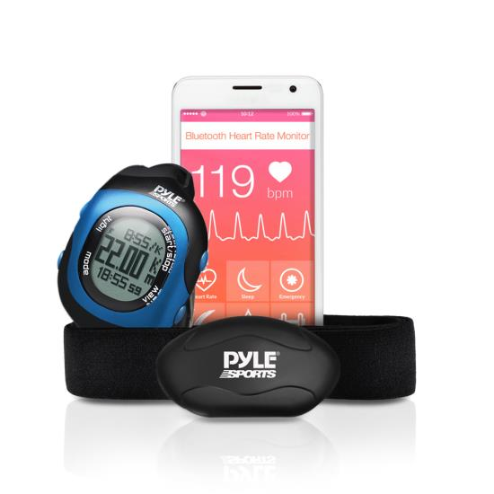 Pyle - PSBTHR70BL , Sports and Outdoors , Watches , Gadgets and Handheld , Watches , Bluetooth Wireless Heart Rate Monitor Chest Strap with Digital Wrist Watch, Measures Speed, Distance, Countdown and Lap Times for Walking, Running, Jogging, Exercise, Fitness