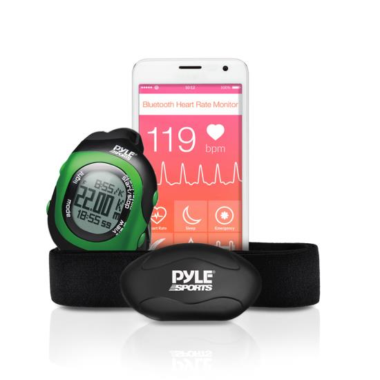 Pyle - PSBTHR70GN , Sports and Outdoors , Watches , Gadgets and Handheld , Watches , Bluetooth Wireless Heart Rate Monitor Chest Strap with Digital Wrist Watch, Measures Speed, Distance, Countdown and Lap Times for Walking, Running, Jogging, Exercise, Fitness