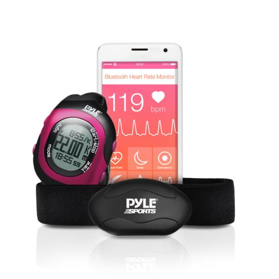 Pyle - PSBTHR70PN , Sports and Outdoors , Watches , Gadgets and Handheld , Watches , Bluetooth Wireless Heart Rate Monitor Chest Strap with Digital Wrist Watch, Measures Speed, Distance, Countdown and Lap Times for Walking, Running, Jogging, Exercise, Fitness